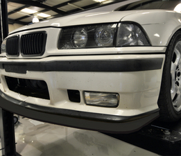 E36 BMW splitter on lift